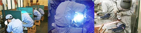 溶接加工、機械加工、フォークリフト、玉掛け、クレーンなど